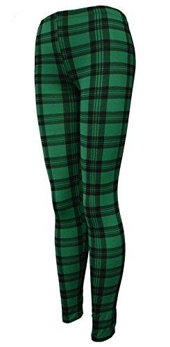 Islander Fashions Womens Plain Leggings extensibles Mesdames pleine longueur imprim Skinny Legging Pants S / 3XL Tartan Green