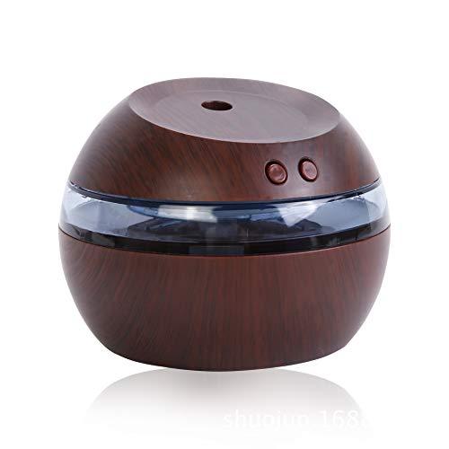 ZYJ Humidificador de Coche USB, humidificador de Superficie de Madera, Aerosol silencioso con lámpara LED, humidificador de protección de sincronización para Oficina y Dormitorio,Darkwoodcolor