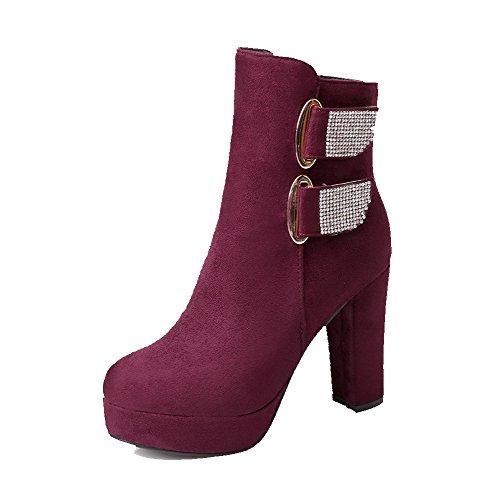 AllhqFashion Damen Eingelegt Rund Zehe Mattglasbirne Stiefel mit Beschlagene Strass Weinrot