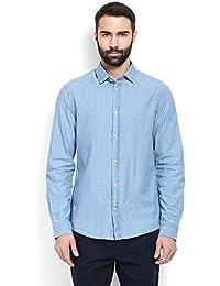 Celio Men Blue Solid Cotton Shirt - B01N4WVA27