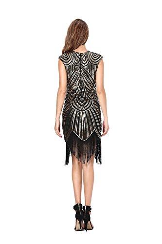 Clothin, mit Pailetten und Deko-Perlen verziertes Damen-Fransenkleid im Retro-Stil der 1920er-Jahre Q3-Luxury black gold