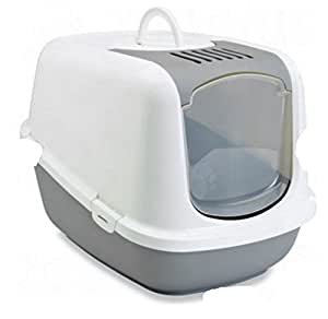 Jumbo-Sized Covered Litter Tray XXL - Has A Top Opening For Quick And Easy Cleaning - Spacious Interior - Ideal For Very Large Cats (Light Grey & White, 66.5 x 48.5 x 46.5 cm (L x W x H))