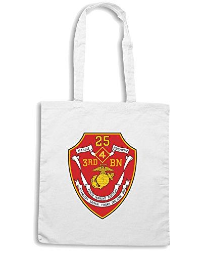 T-Shirtshock - Borsa Shopping TM0344 3rd Battalion 25th Marine Regiment USMCR usa Bianco