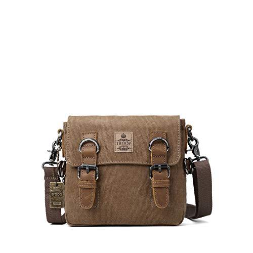 trp0424 TROOP LONDON héritage Toile Sac bandoulière en cuir, bandoulière sac, élégant petit sac de voyage (marron)