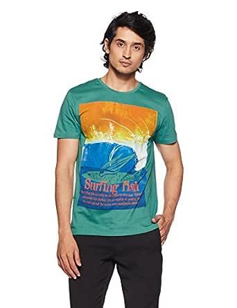 People Men's Printed Regular Fit T-Shirt (P1C110318FIS400_Green_Small)