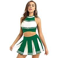 MSemis Disfraz Animadora Mujer Chica Conjunto de Porrista Cheerleadings Tank Top Falda Plisada Cosplay High School Traje Carnaval Actuación Baloncesto Fútbol