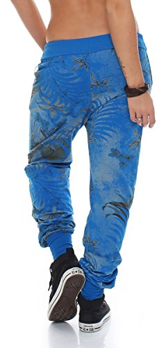 malito Damen Jogginghose mit Jungle Print | Sporthose mit Muster| Baggy zum Tanzen | Sweatpants �?Trainingshose 83728 Blau