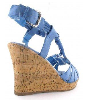 Top or - Sandales femme compensées bleu - WF51-7 Bleu