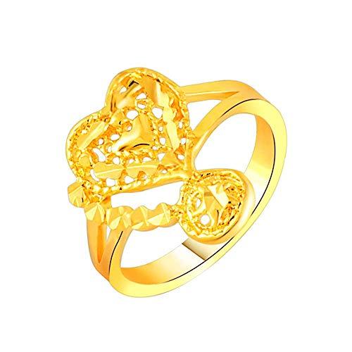 Purmy donne anello placcato oro fede nuziale 24k placcato oro moda cuore forma modello design oro dimensione 15