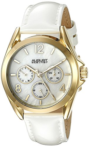 August Steiner Women's AS8191YGW Yellow Gold Multifunction Crystal Accented Quartz Watch with White Mother of Pearl Dial and White Strap