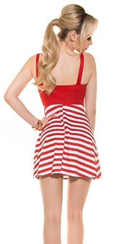 KouCla Träger Minikleid im Marine Look mit Zip Rot Oder Schwarz Rot