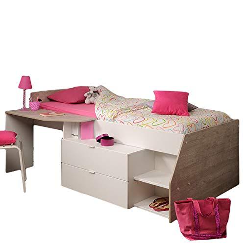 Hochbett weiß/grau Inklusive Schreibtisch + Kommode + Ablagefach Spielbett Kinderbett Jugendzimmer Kinderzimmer -