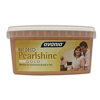 Avania ART Deco Gold Metallic Effect Metall-Effekt-Farbe Pearlshine Gold Wandlasur für Schimmernde Akzente in Gold 1 Liter Seidenglänzend