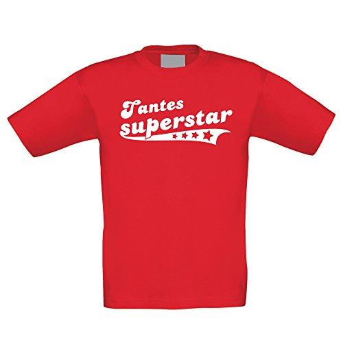Kinder T-Shirt - Tantes Superstar - von Shirt DEPARTMENT, 152-164, Rot-Weiss (T-shirt Stolz Juniors)