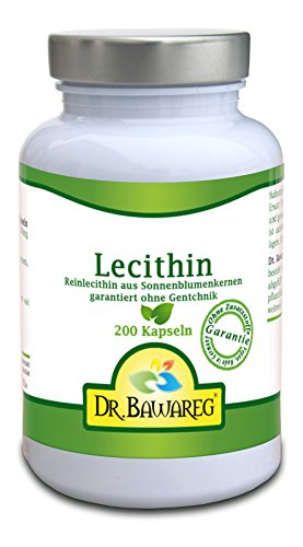 Lecithin - GMO-frei aus Sonnenblumenkernen - 200 Vegi-Kapseln - 300mg Reinlecithin ohne Zusätze- Dr. Bawareg