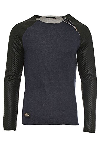 redbridge-designer-herren-leder-longsleeve-leather-sleeve-mens-pullover-r-41362-navy-s
