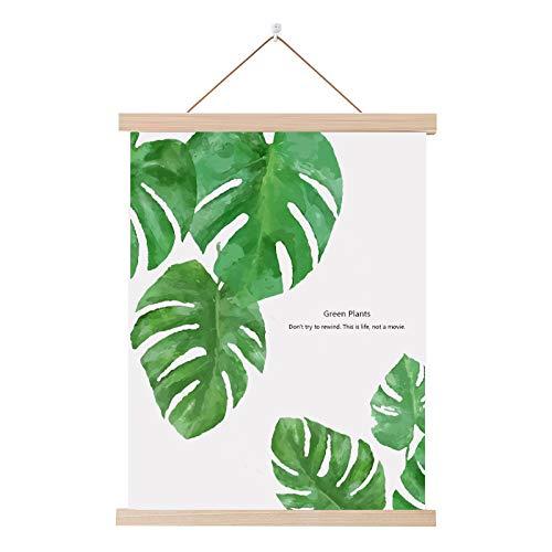 mmzki Kleine frische Massivholzschaftmalerei Stoffmalerei Pflanze Hängetuch J 50x70cm