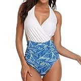 Traje de baño de una Pieza bañador con Estampado Floral para Mujer Bikini sin Espalda Banador Halter Azul S
