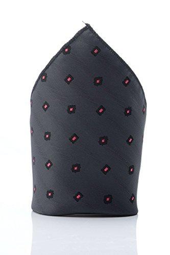 Cravate Rose Kostüm - Oh La Belle Cravate Tasche grau mit Rosen-Motiv Herren Dandy Krawatte Taschentuch Kostüm