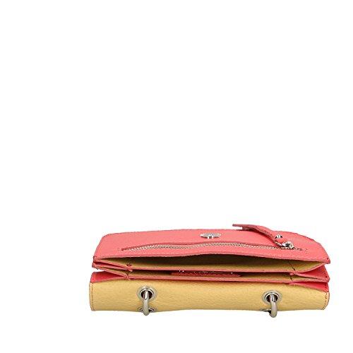 Chicca Borse Clutch Borsetta a Mano in Vera Pelle Made in italy - 23x17x7 Cm Corallo