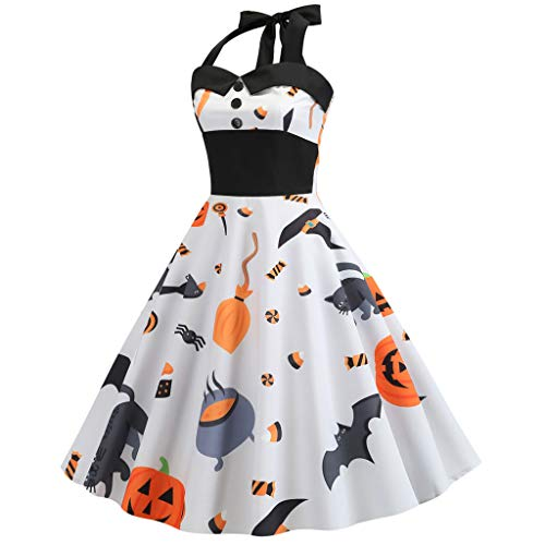 Hall Monitor Kostüm - Mitlfuny Halloween coustems Kürbis Hexe Cosplay Gast Ghost Schicke Party Halloween deko,Damen Vintage Print Halfter Halloween Abend Party Swing Kleid
