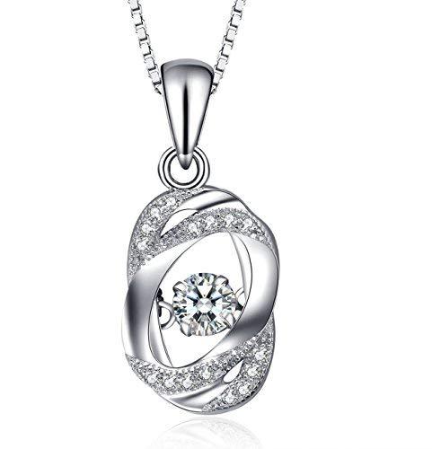 J.Vénus Damen Schmuck, Kette Damen Silber Halskette 925 Sterling Silber Zirkonia Herz Anhänger 'Nie getrennt'45cm Schmuck mit Etui