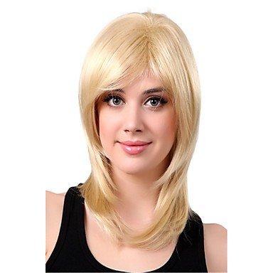 OOFAY JF-capless Mischungsfarben lange Länge hochwertigen natürlichen glatte Haare synthetische Perücke , 18 inch (Blonde 18-zoll-haar-erweiterungen)
