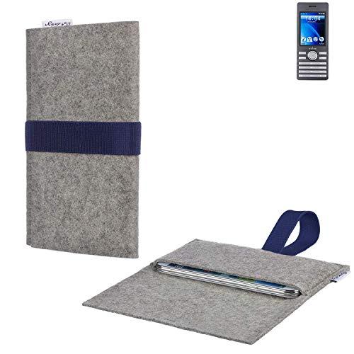 flat.design Handytasche Aveiro mit Filz-Deckel und Gummiband-Verschluss für Kazam Life B6 - Sleeve Case Etui Filz Made in Germany hellgrau dunkelblau - passgenaue Handy Hülle für Kazam Life B6