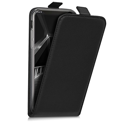 kwmobile Custodia per Apple iPhone X - Cover per cellulare in simil pelle - Case protezione Flip apribile nero .nero