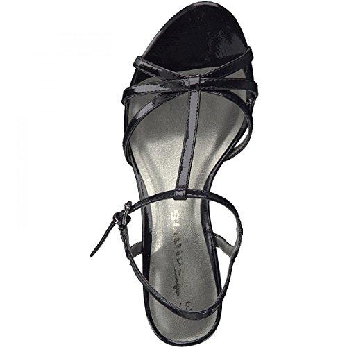 Tamaris 28329, Sandali con Chiusura a T Donna Nero (Black Patent)