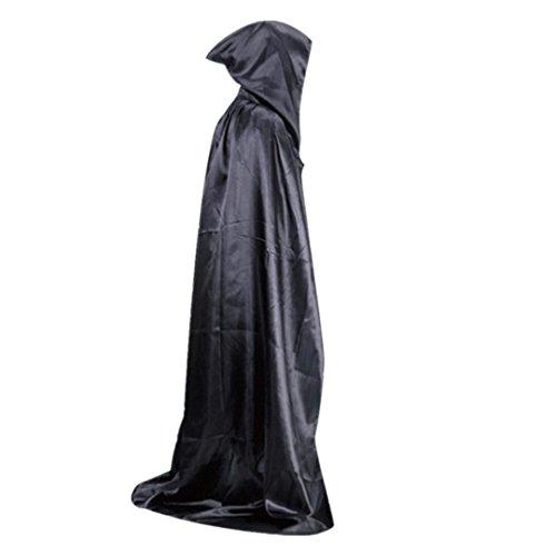 HLHN Damen Herren Halloween Party Kapuzen Umhang, Mittelalterlicher Hexe Satin Karneval Fasching Kostüm Cape mit Kapuze 3 Farbe für Jugend(150cm) (Schwarz) (Hexe Kostüm Für Jungen)