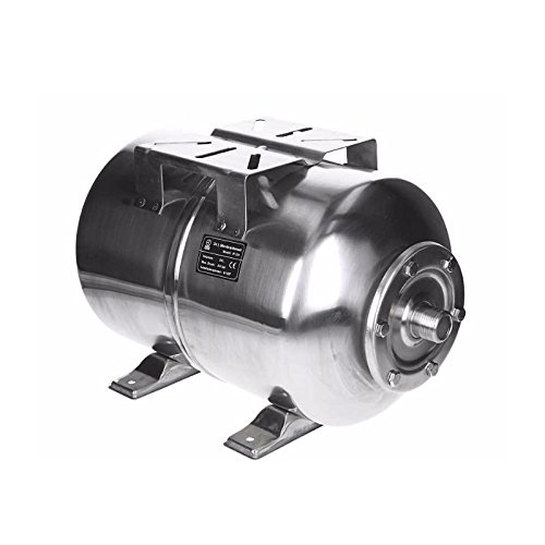 ECD Germany Edelstahl Ausdehnungsgefäß 24L | mit EPDM Membran | 1 Zoll Anschluss | max. Druck 6 | Druckkessel für Hauswasserwerk Membrankessel Druckbehälter Druckkesel Kessel