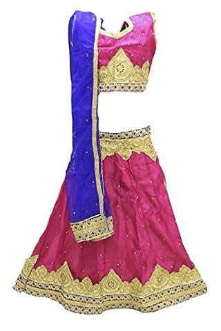 GCC3139 Pink und Blaues Mädchen Chaniya Choli Navratri Bollywood Chaniya Choli 32 (approx 8-9 (Hot Pink Thread)