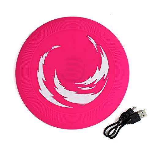 QM Hunde LEUCHTSPIELZEUG m. Akku Micro-USB Frisbee Ball Stick Hundespielzeug Wurfspielzeug ~cf885 1522 (Frisbee)