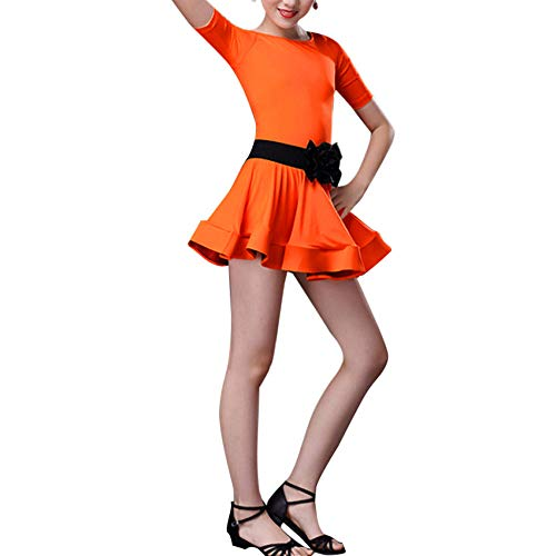 Kostüm Tanz Jazz Contemporary - Xmiral Kleinkind Tanz Kostüme Kinder Mädchen Latin Ballett Kleid Party Dancewear Kostüm für Karneval Mottoparty(150,Orange)