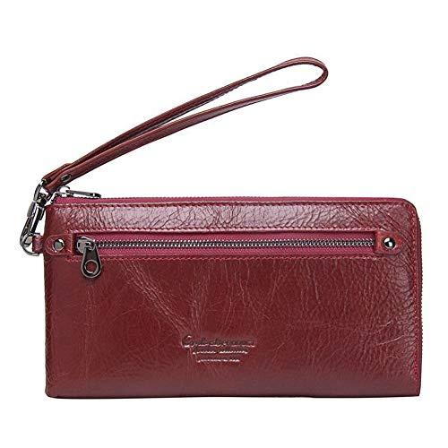 LUGLQA Damen Geldbörse Rfid Sicherheit Schutz Luxus hochwertige Retro-Leder Brieftasche Multi-Card Wallet Damen Reißverschluss Münztasche