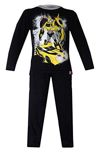 lafanzug mit Transformers-Figuren, lange Ärmel, 3-8Jahre, schwarz (Transformers Bumblebee Schlafanzug)