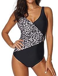 OverDose Damen 2019 Top Qualität Frauen Siamese Bikini Set Push-Up Surfen  Schwimmen Elastische Dünne Streifen Bademode… 33a2047936