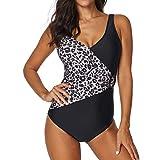 iYmitz Frauen Siamese Bikinis Sets Drucken Push-Up StripeSwimwear Strandbekleidung Gepolsterter(Schwarz,EU-38/CN-L)