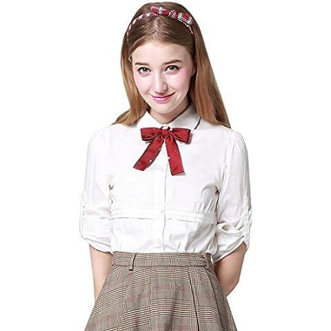 Etongenius Donne maniche lunghe in cotone scolastico formale camicia uniforme