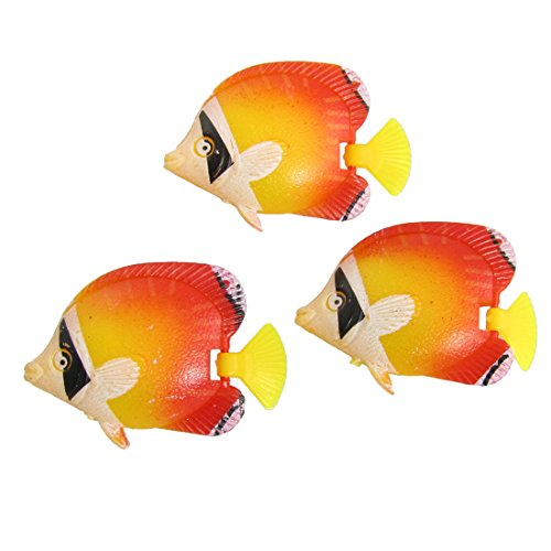 Sourcingmap® Orange Rouge Jaune en Plastique Poissons tropicaux Décoration pour Aquarium