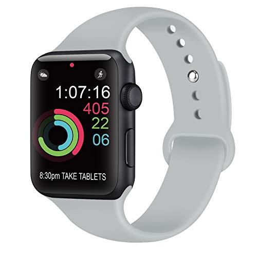 AK kompatibel Apple Watch Armband 42mm 38mm 44mm 40mm, Weiche Silikon Sport Ersatz Armband kompatibel iWatch Series 4, Series 3, Series 2, Series 1 S/M M/L (04 Grau, 38/40mm S/M)