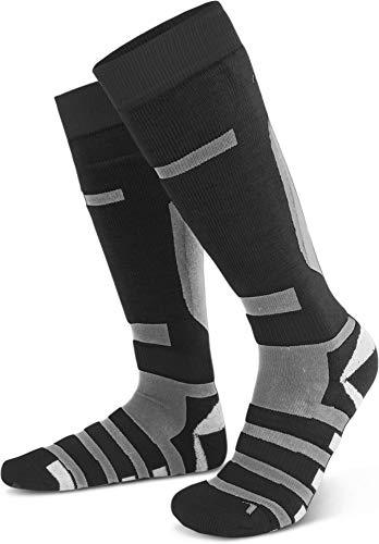2 Paar Warme Knistrümpfe Skisocken mit Spezialpolsterung und Wolle für Damen und Herren Farbe RIPP/Schwarz/Grau Größe 43/46