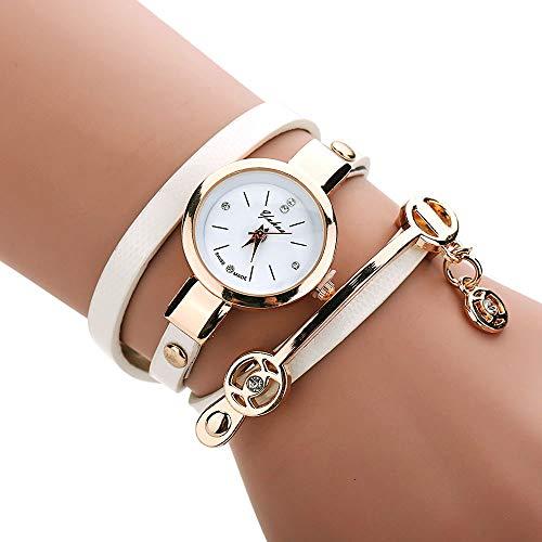 Uhren Damen Geflochten Armbanduhren Günstige Uhren Wasserdicht Casual Analoge Quarz Uhr Luxus Armband Coole Uhren Faux Lederarmband Mädchen Frau Uhr TEBAISE 2018 Uhren (Weiß)