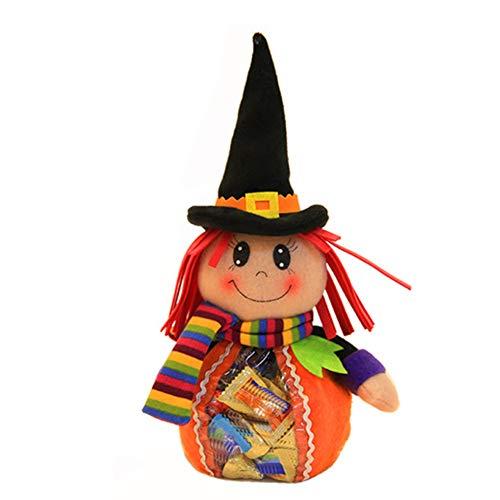 oween Kürbis Puppe Transparent Geschenk Tasche Kinderparty Cartoon Kürbis Tote Halloween Dekoration 31cm*14cm a ()