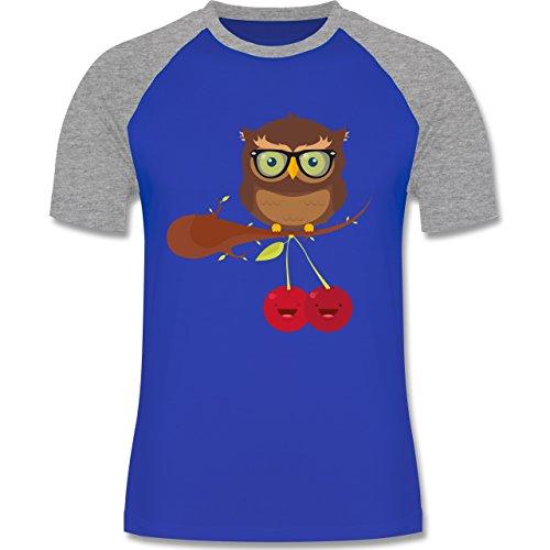 Eulen, Füchse & Co. - Süße Eule Hipster - zweifarbiges Baseballshirt für Männer Royalblau/Grau meliert