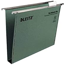 Leitz Ultimate Clenched Bar Suspension File, A4, Squared Base, Pack of 50, Tabs Included, Green, Ultimate Range, 17430055