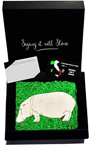 Nilpferd aus Stein - Symbol der Stärke - Handgemacht in Italien