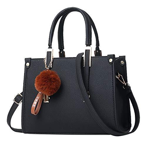LMRYJQ Neue Trend Handtasche Frauen Hairball Ornaments Tote Solide Pailletten Handtasche Geldbörse Messenger Schultertasche
