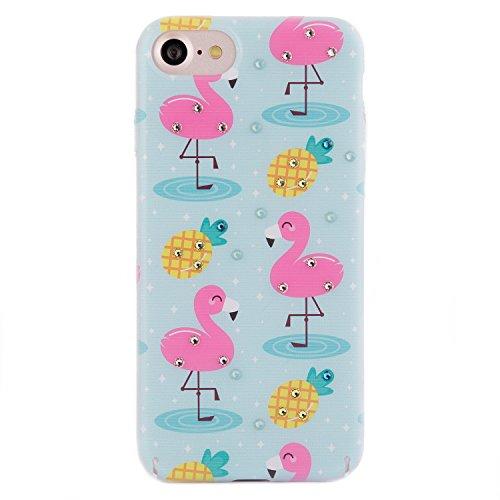 iPhone 8 / 7 Case, Arktis Luxus Hardcase mit Swarowski Steinen Flamingo Baby